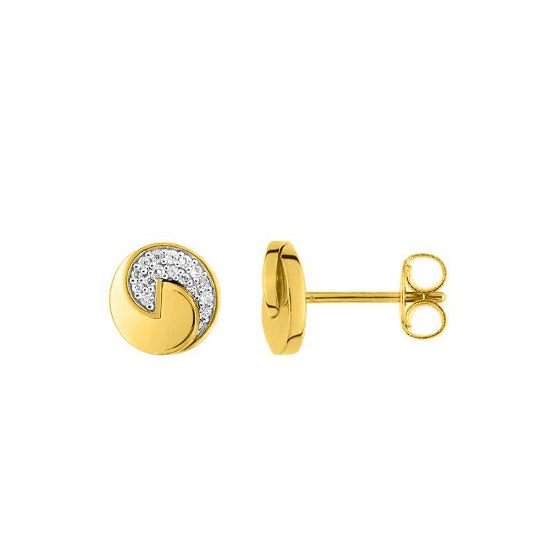 Boucles d'oreilles Guy Laroche en plaqué or jaune et oxydes de zirconium