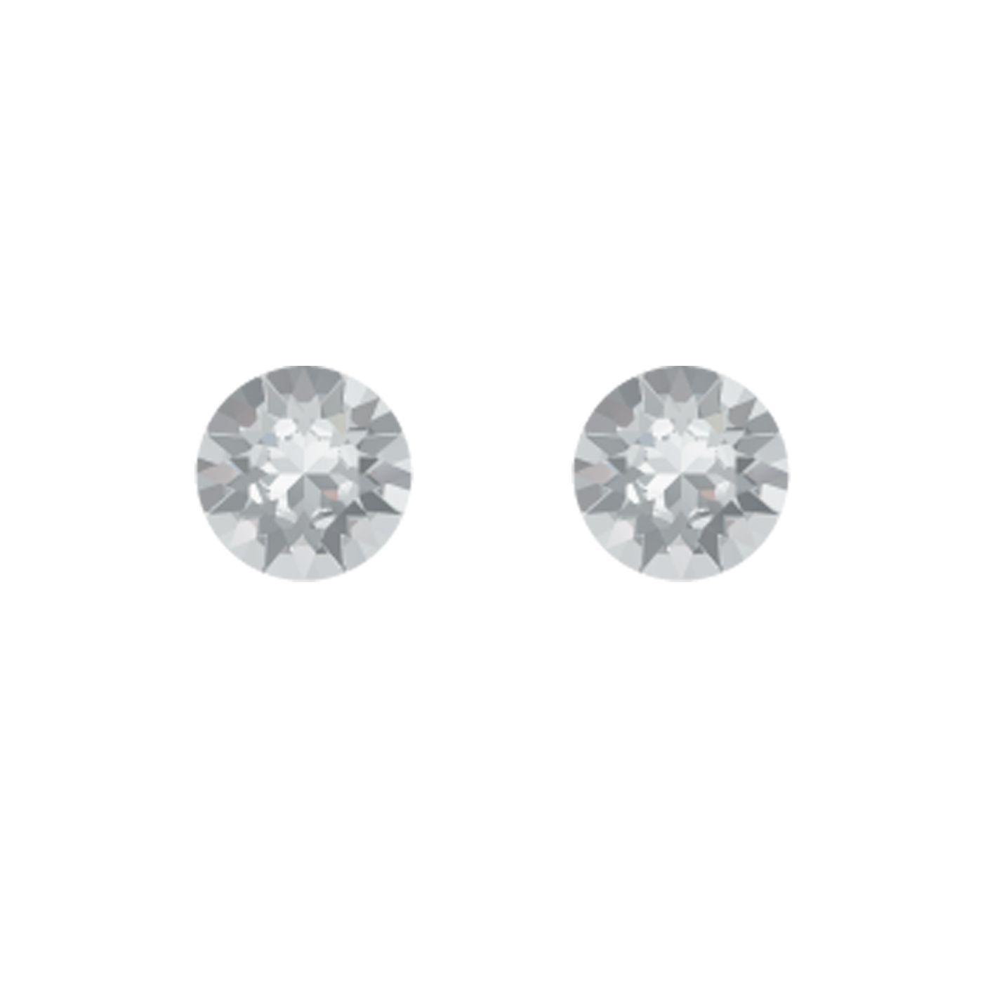 Boucles d'oreilles Indicolite Ronde en argent et cristaux Swarovski blancs