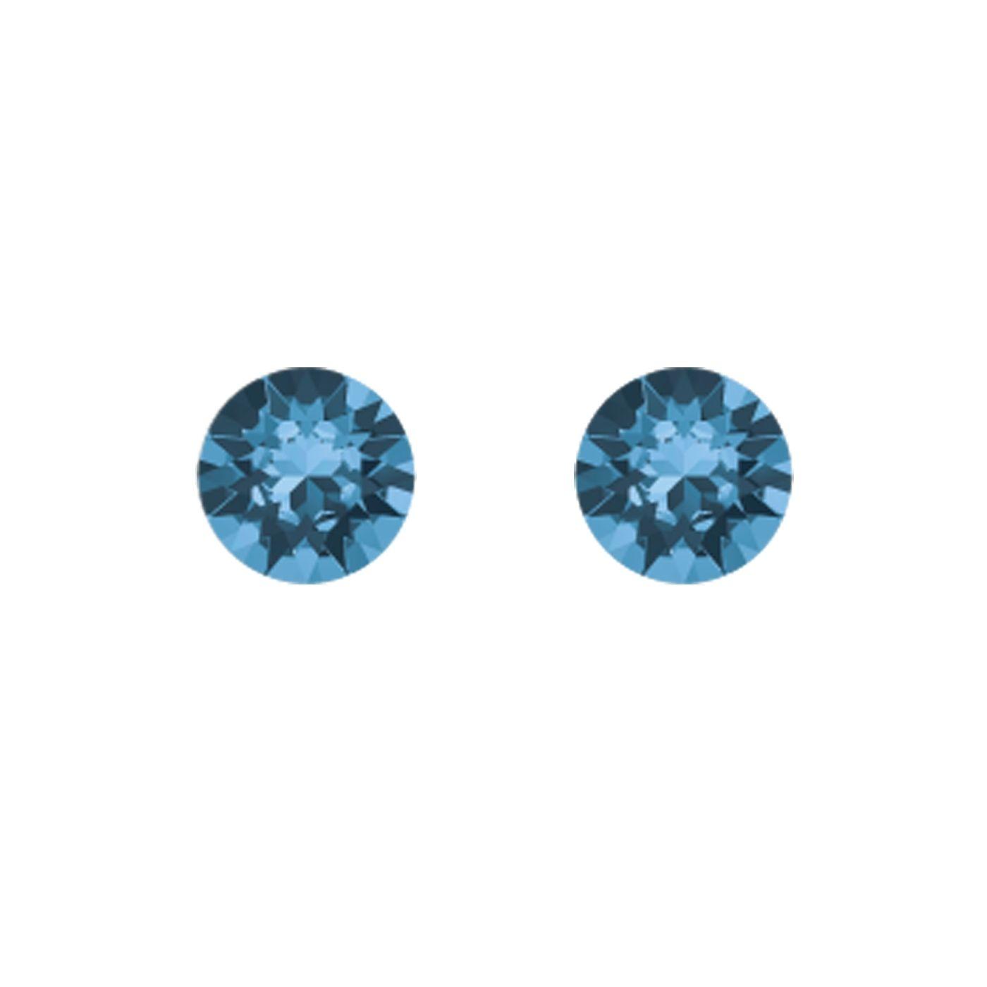 Boucles d'oreilles Indicolite Ronde en argent et cristaux Swarovski bleus