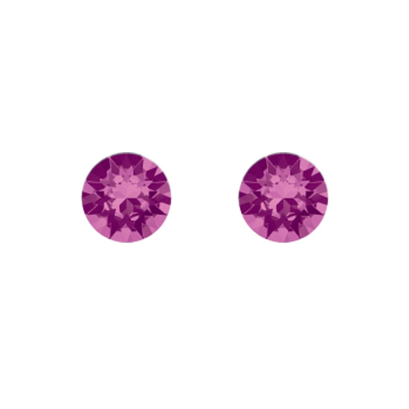Boucles d'oreilles Indicolite Ronde en argent et cristaux Swarovski roses