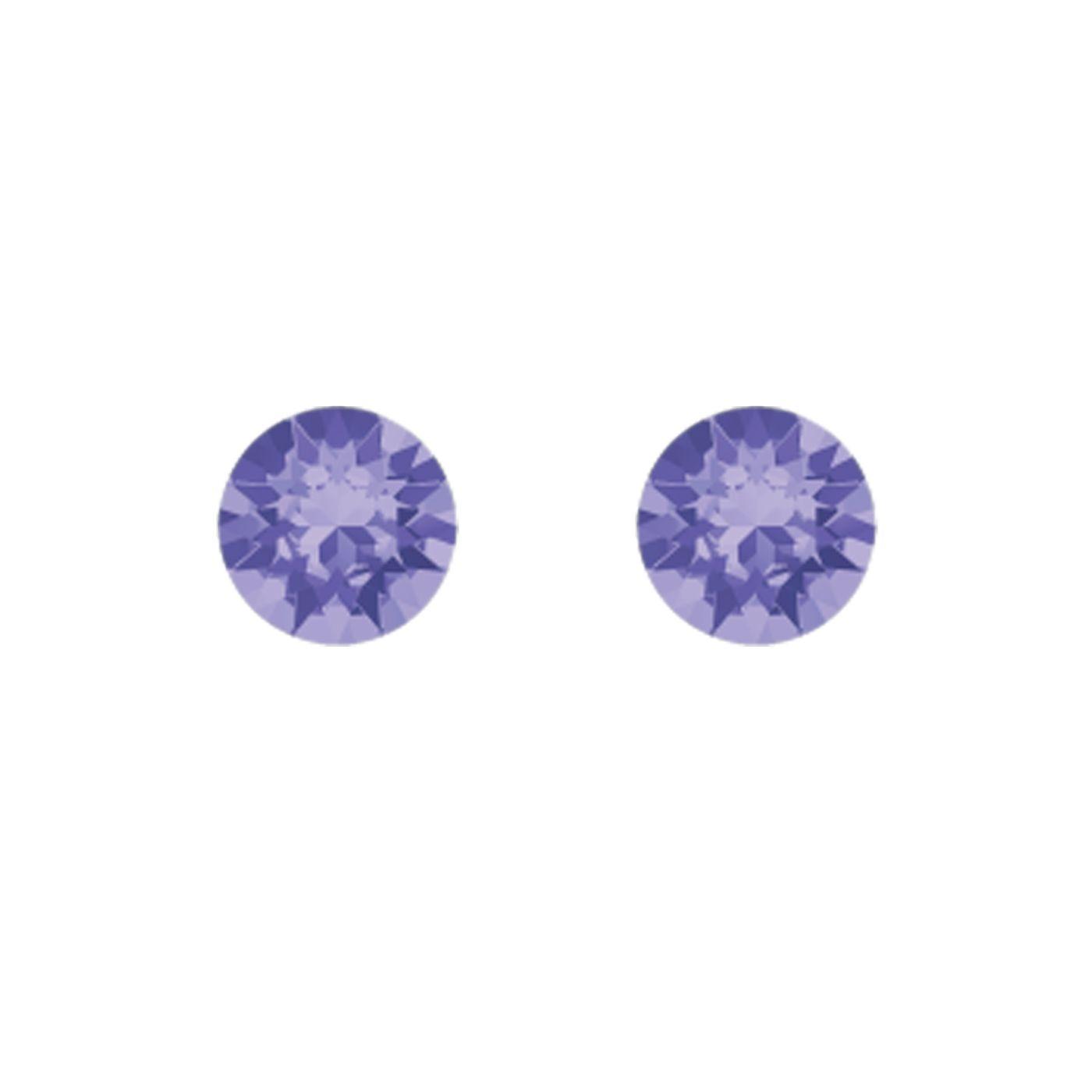 Boucles d'oreilles Indicolite Ronde en argent et cristaux Swarovski violets