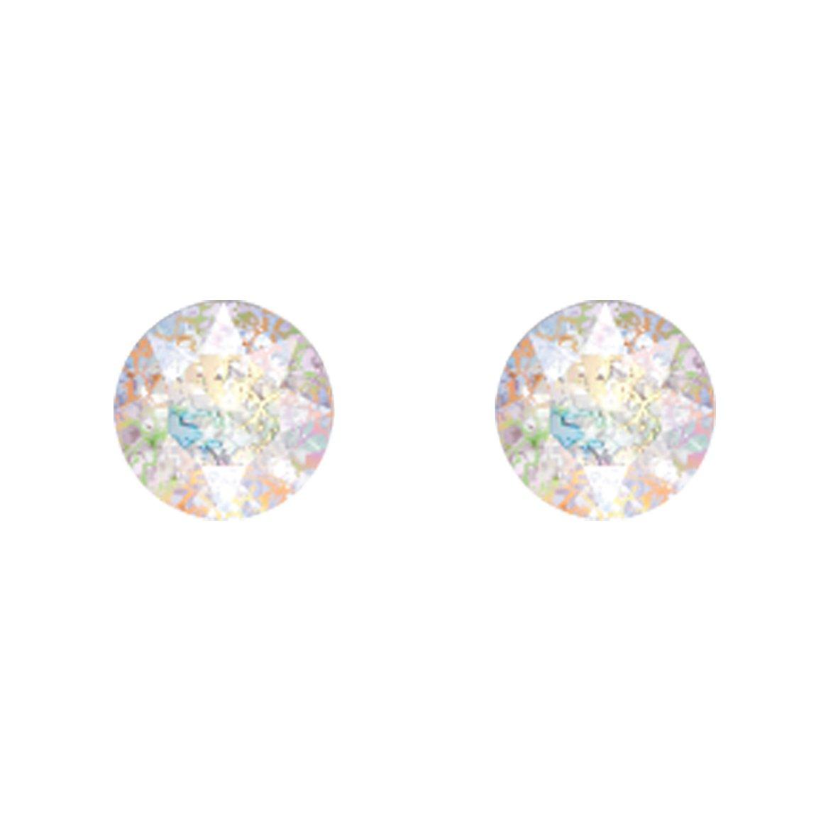 Boucles d'oreilles Indicolite Ronde en argent et cristaux Swarovski