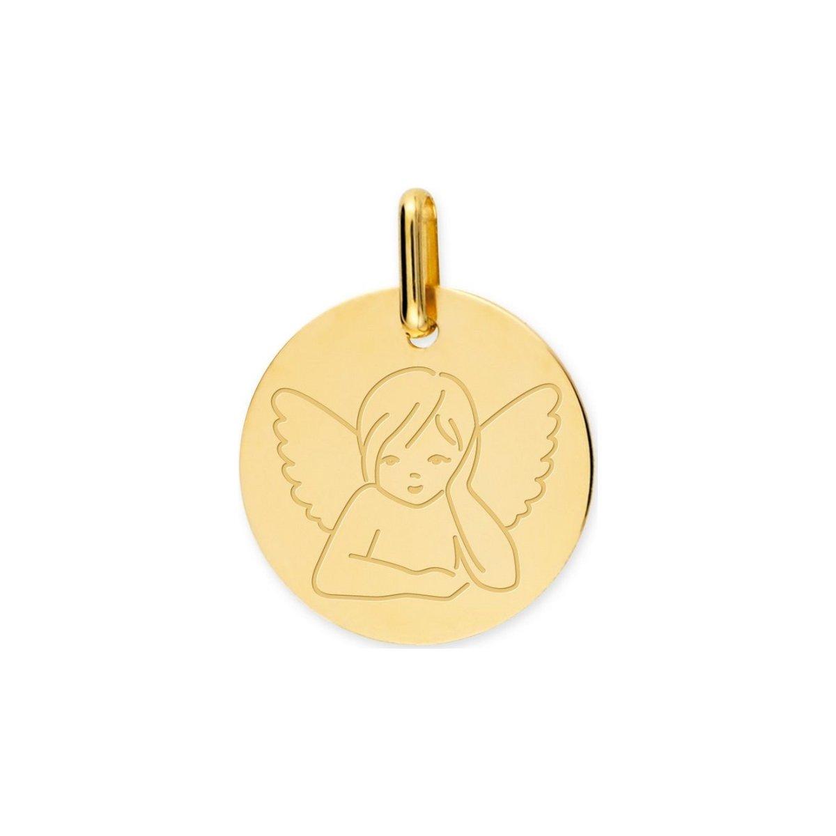 Médaille de baptême ange en or jaune