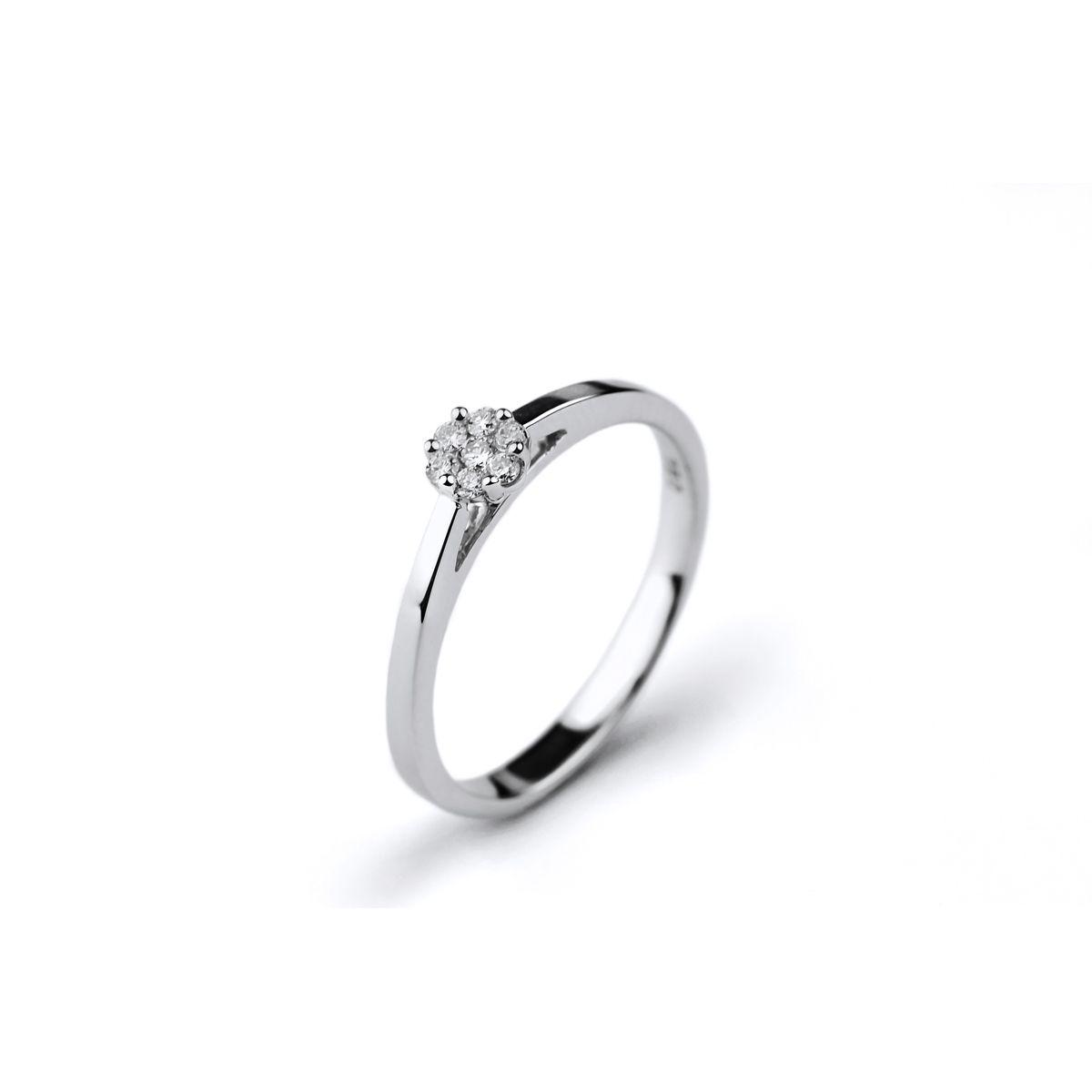 Solitaire en or blanc et diamants de 0.10ct vue 1