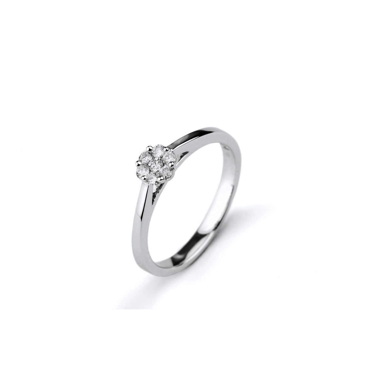 Solitaire en or blanc et diamants de 0.18ct vue 1