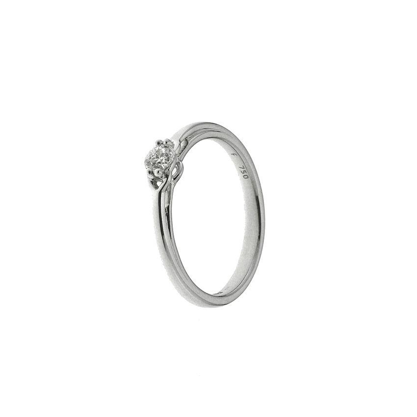 Solitaire en or blanc et diamant de 0.15ct vue 1