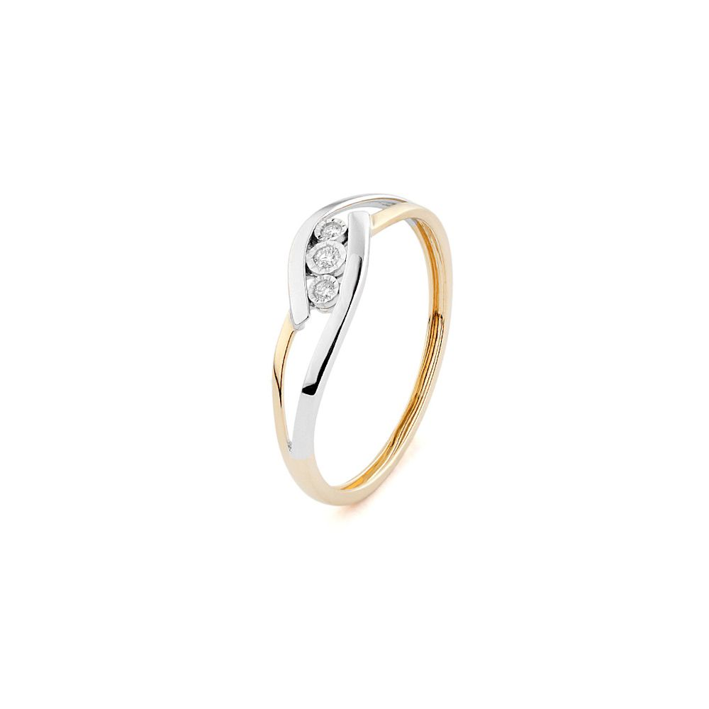 Bague en or rose, or blanc et trilogie de diamants de 0.03ct