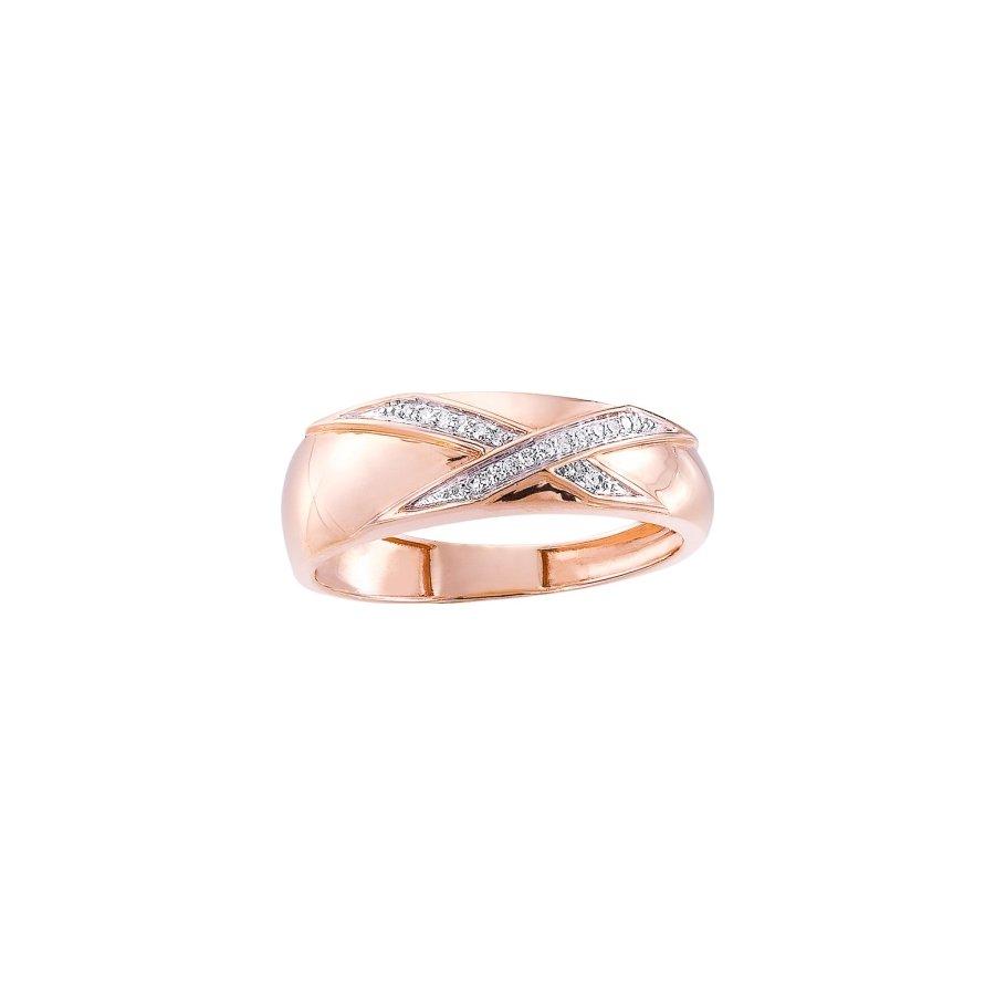 Bague en or rose, or blanc et diamants de 0.05ct