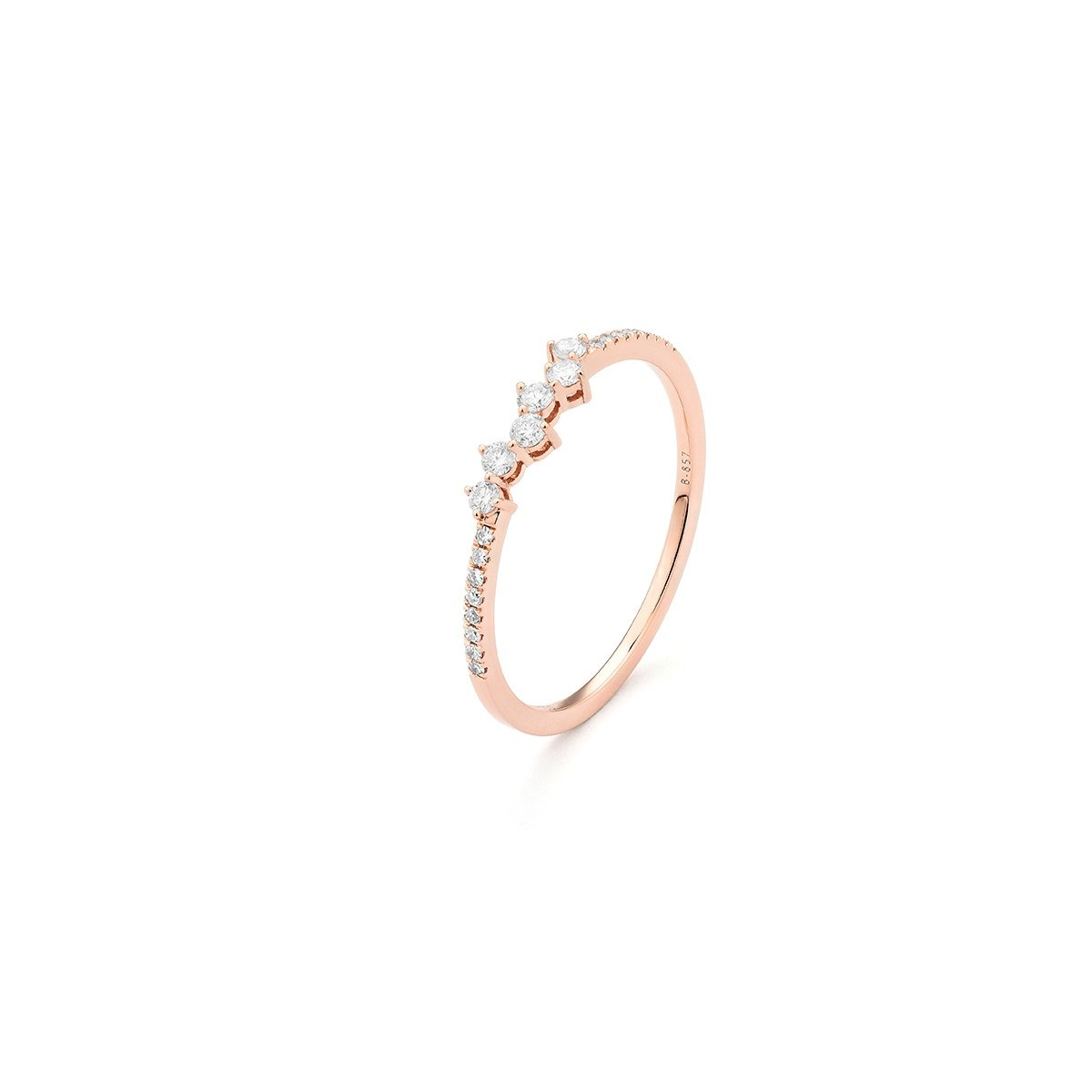 Bague en or rose et diamants de 0.17ct