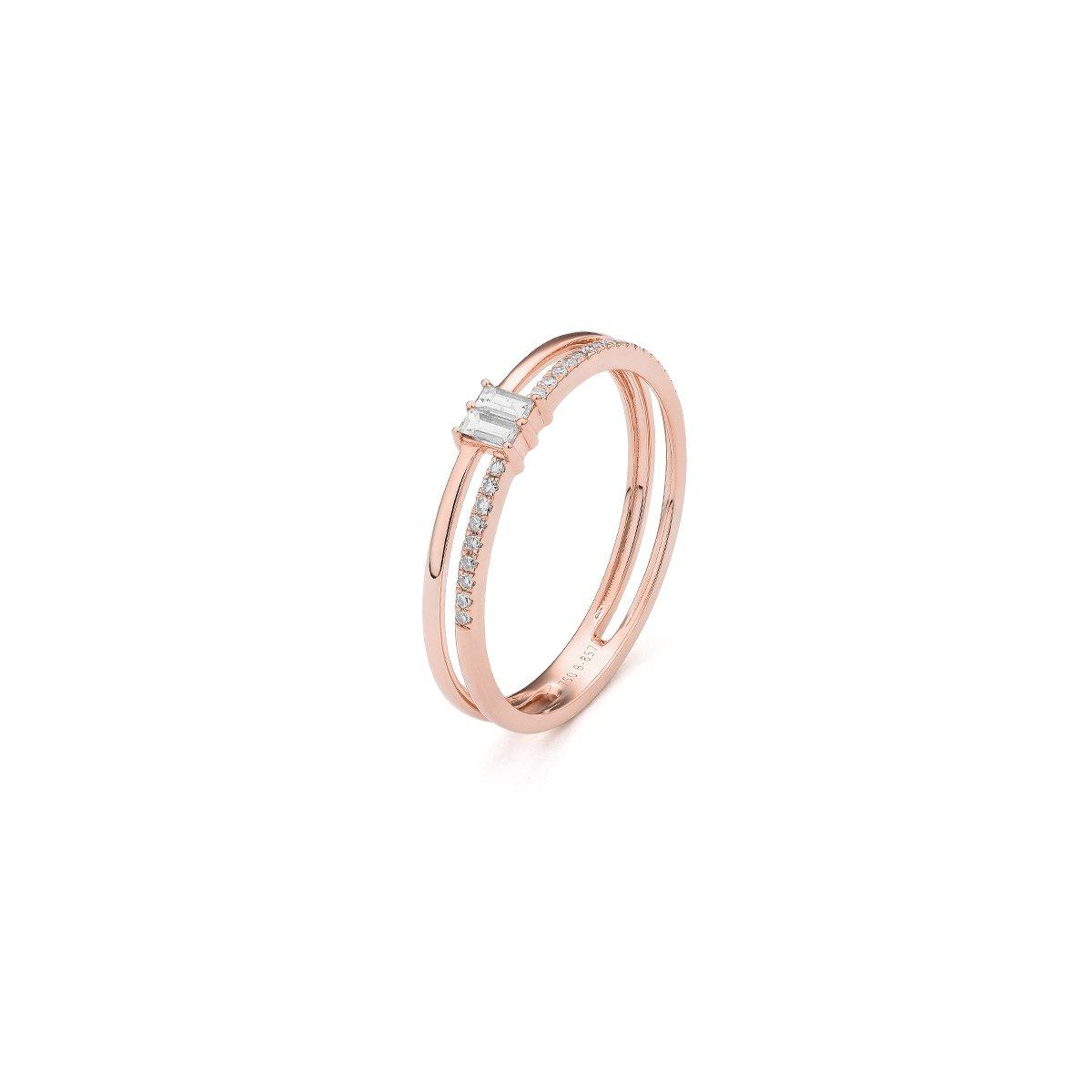 Bague en or rose et diamants de 0.15ct