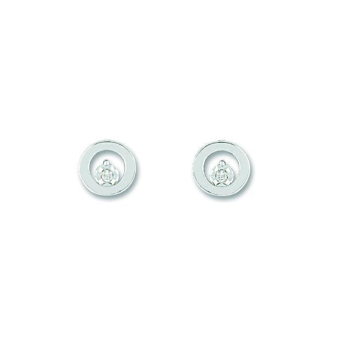 Boucles d'oreilles en or blanc et diamants de 0.02ct