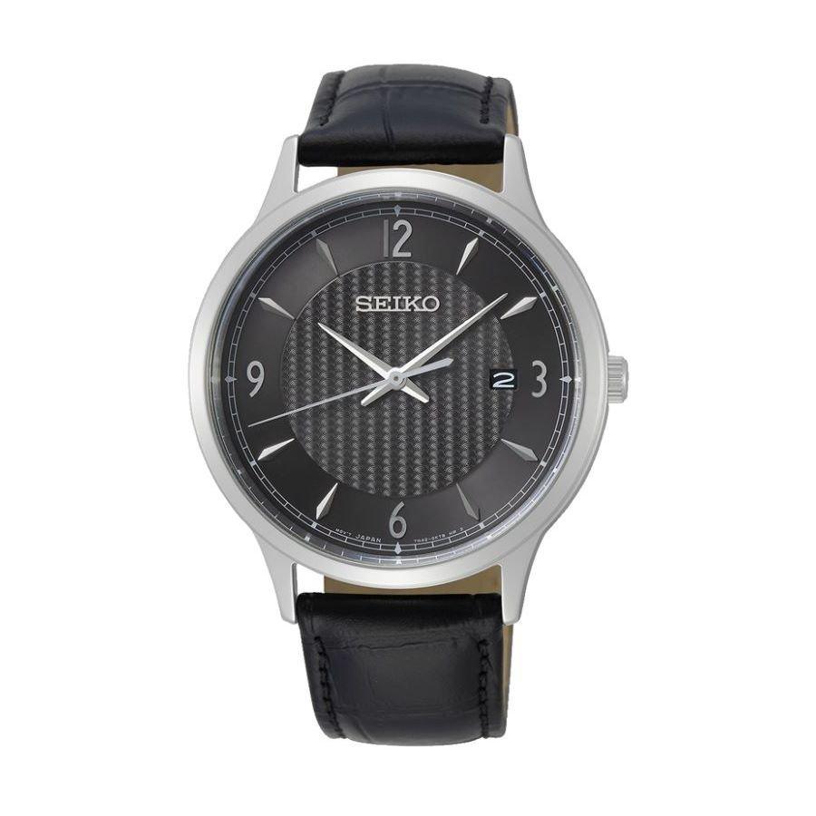 Montre Seiko Classique Homme Quartz acier cuir noir SGEH85P1