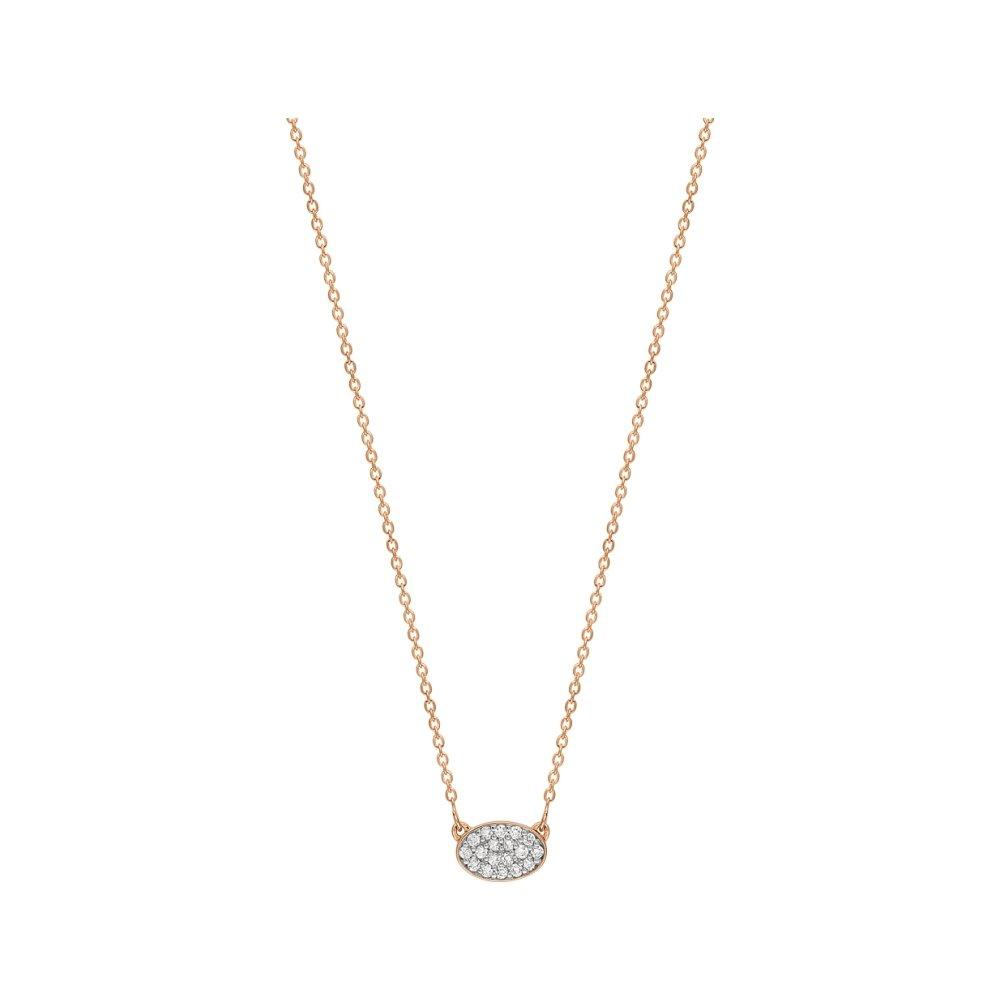 Collier GINETTE NY ELLIPSES & SEQUINS en or rose et diamants