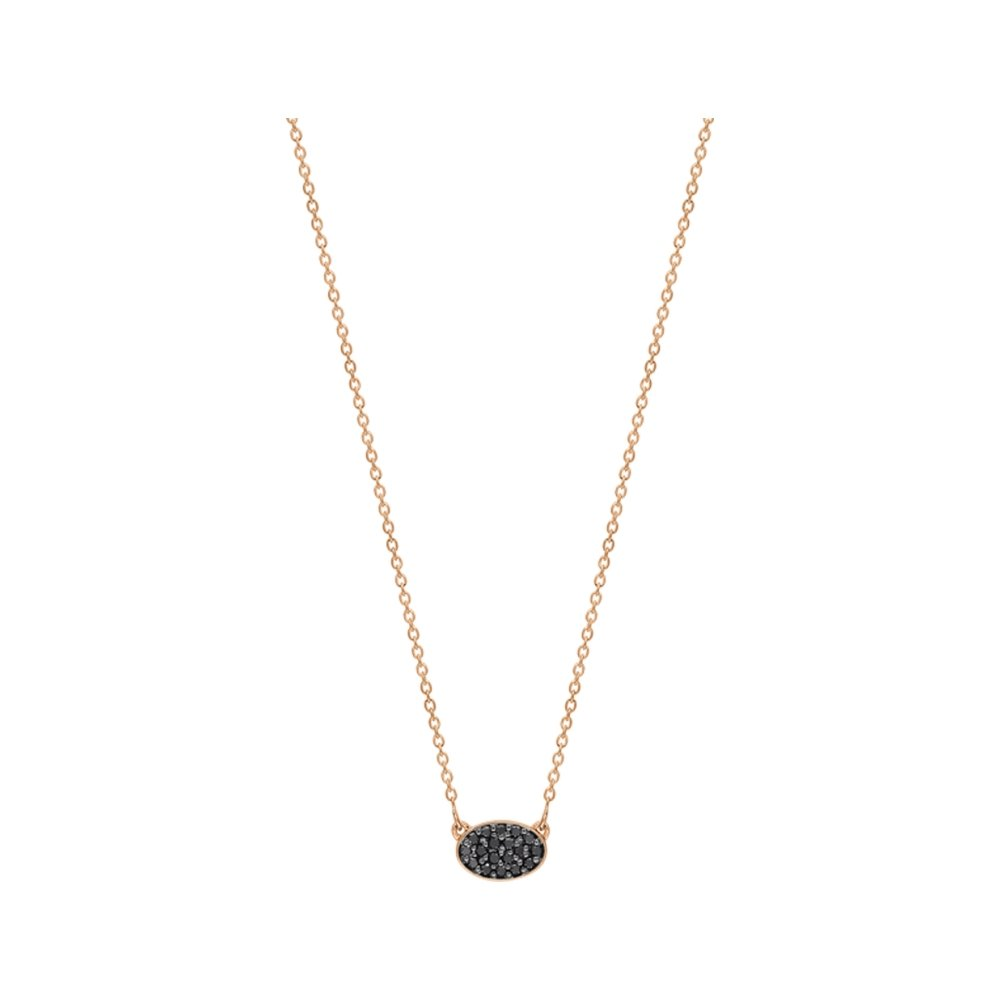 Collier GINETTE NY ELLIPSES & SEQUINS en or rose et diamants noirs