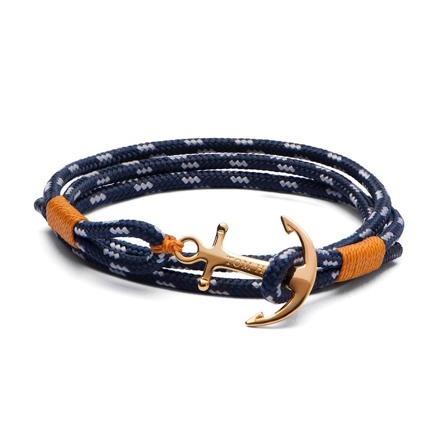Bracelet Tom Hope 24K XS bleu, orange en plaqué or jaune