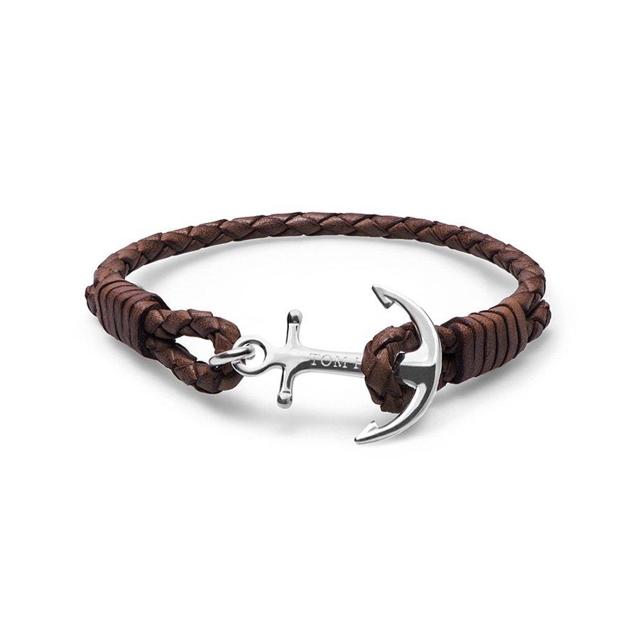 Bracelet Tom Hope Havana Brown L marron en cuir et argent
