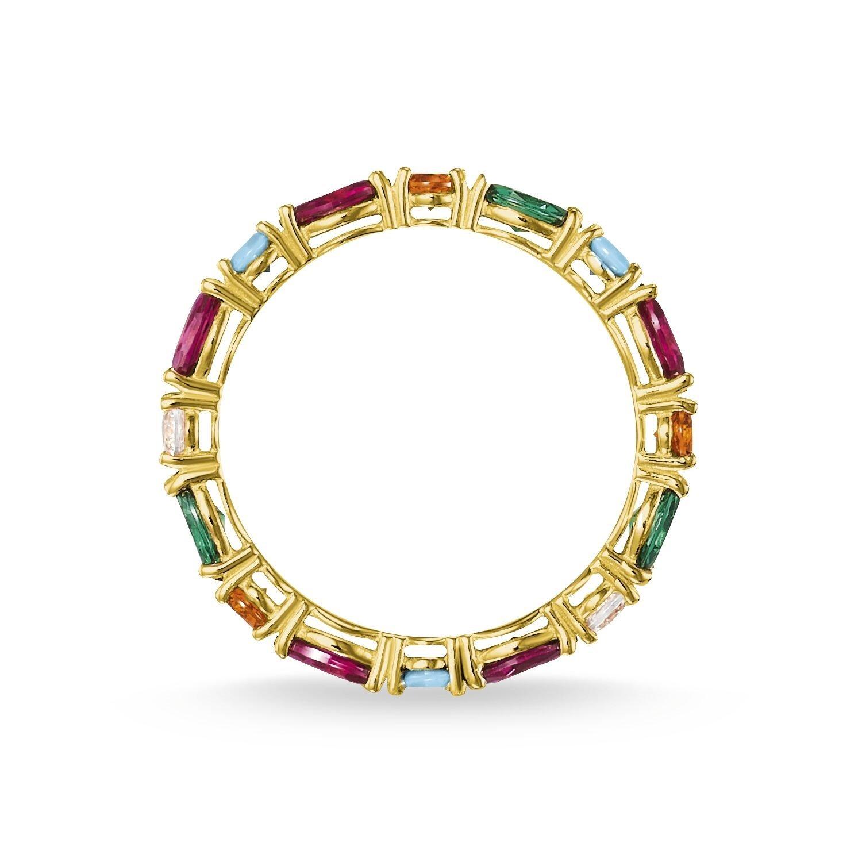 Bague Thomas Sabo en plaqué or jaune et pierres multicolores vue 2