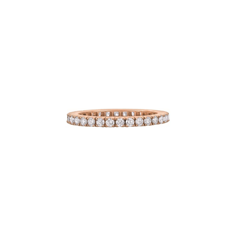 Alliance tour complet Tulle diamants taille brillant en or rose