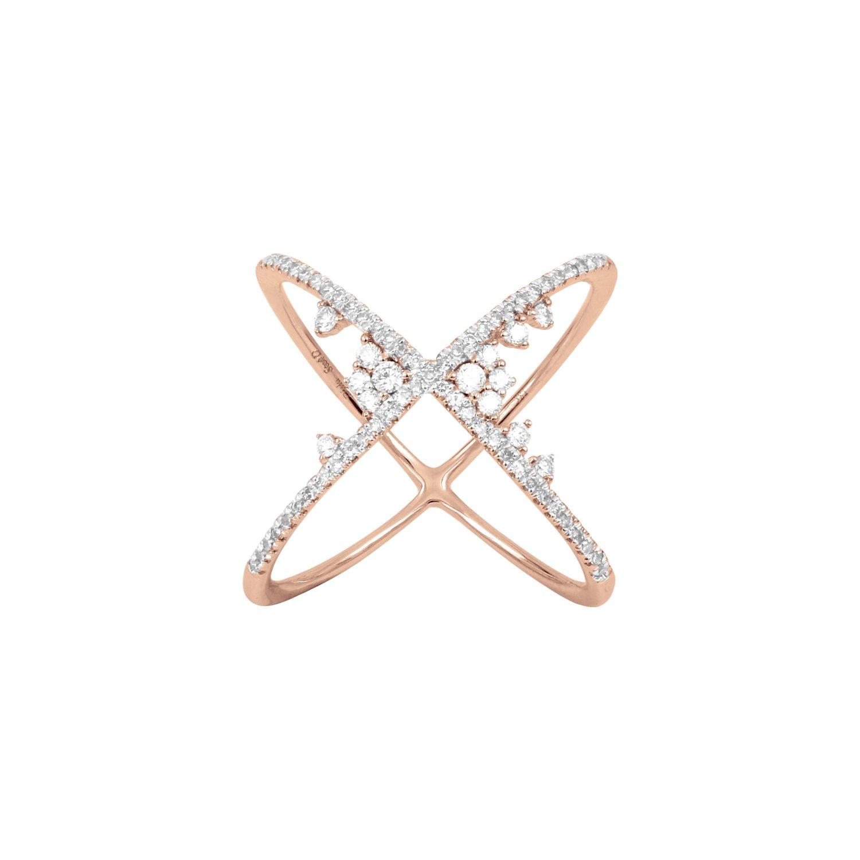 Bague Djula Croisée Fairytaile en or rose et diamants