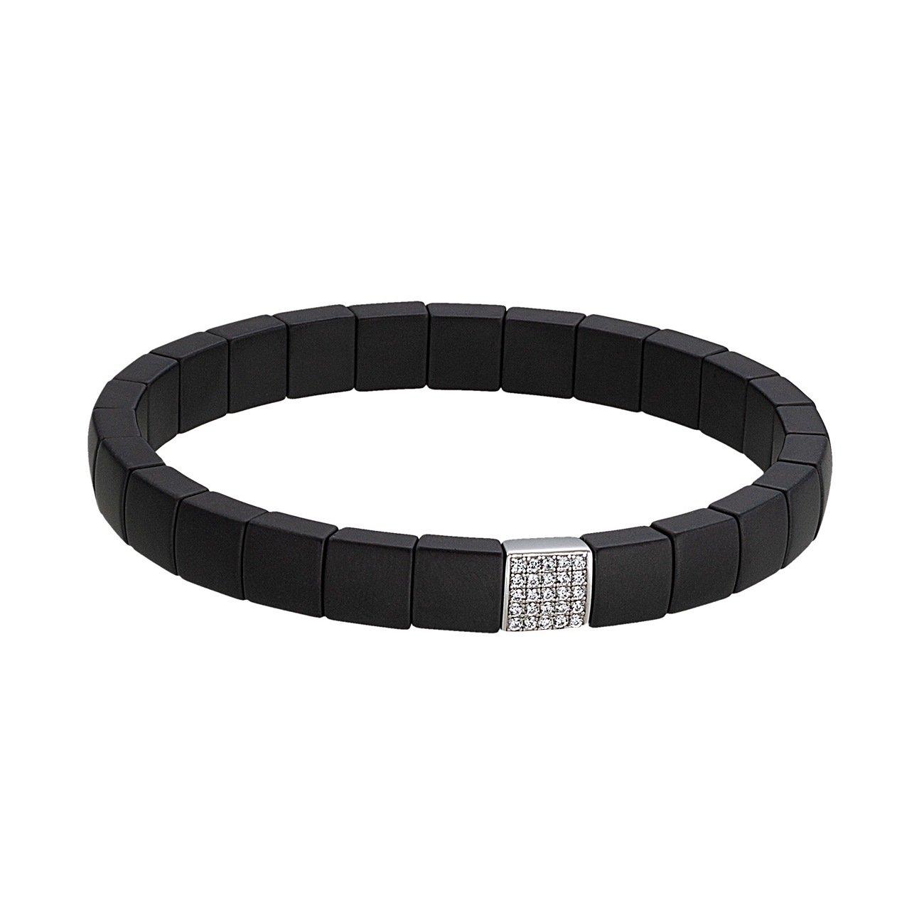 Bracelet Jourdan Bijoux Ceramic en céramique noire, argent et oxyde de zirconium