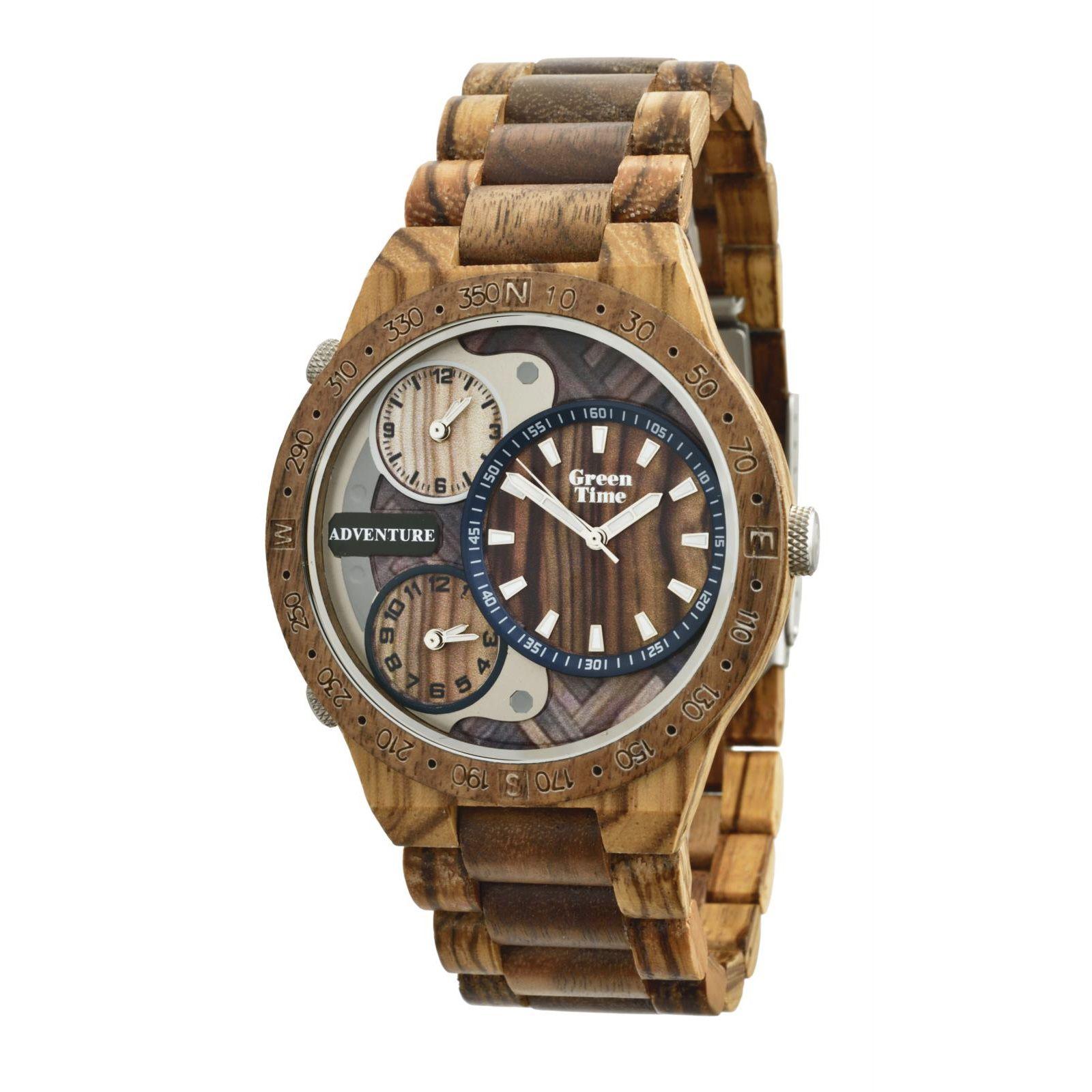 Montre Green Time en bois de zèbre et santal ZW078A