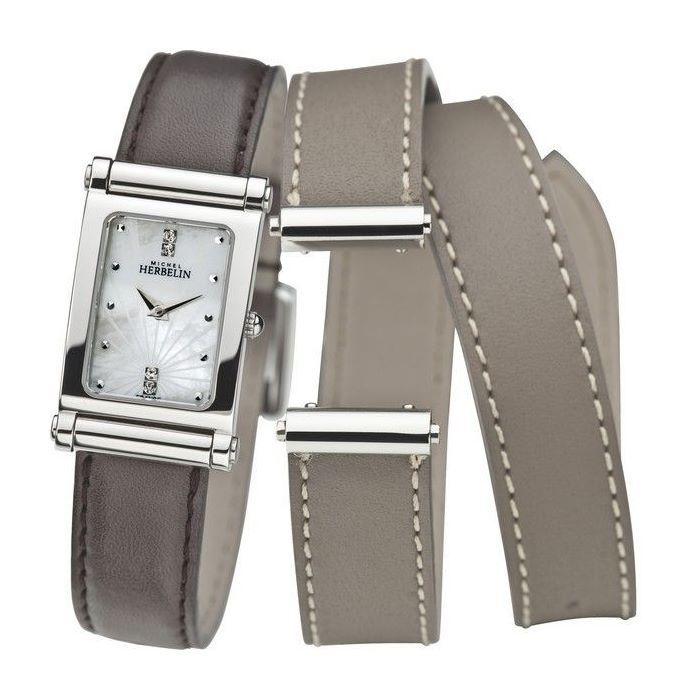 Coffret montre Michel Herbelin Antarès et 2 bracelets cuir vue 1