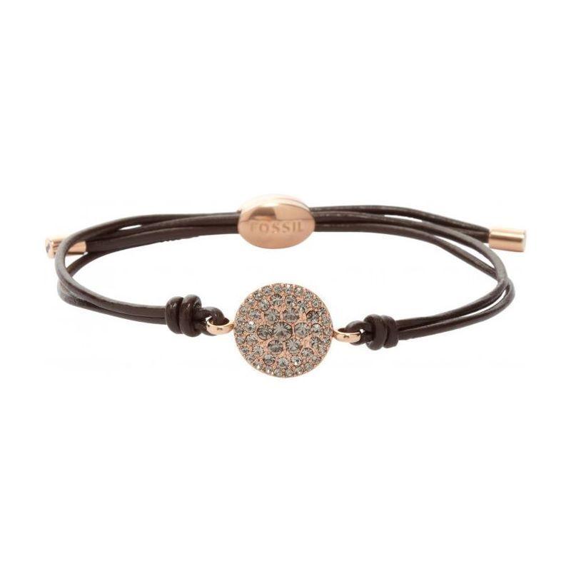Bracelet Fossil en acier, cuir et cristal