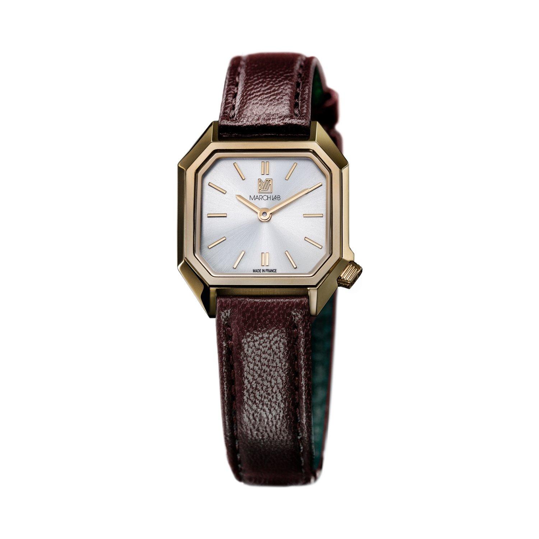 Montre March LA.B Lady Mansart Electric Continental - Bracelet veau marron et noir vue 1