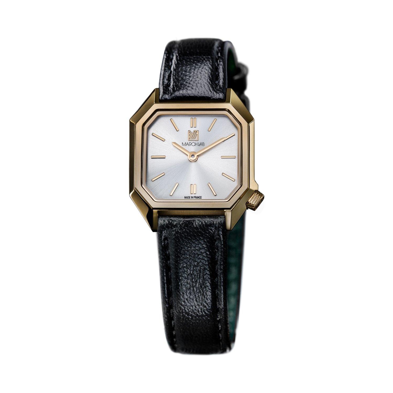 Montre March LA.B Lady Mansart Electric Continental - Bracelet veau marron et noir vue 2