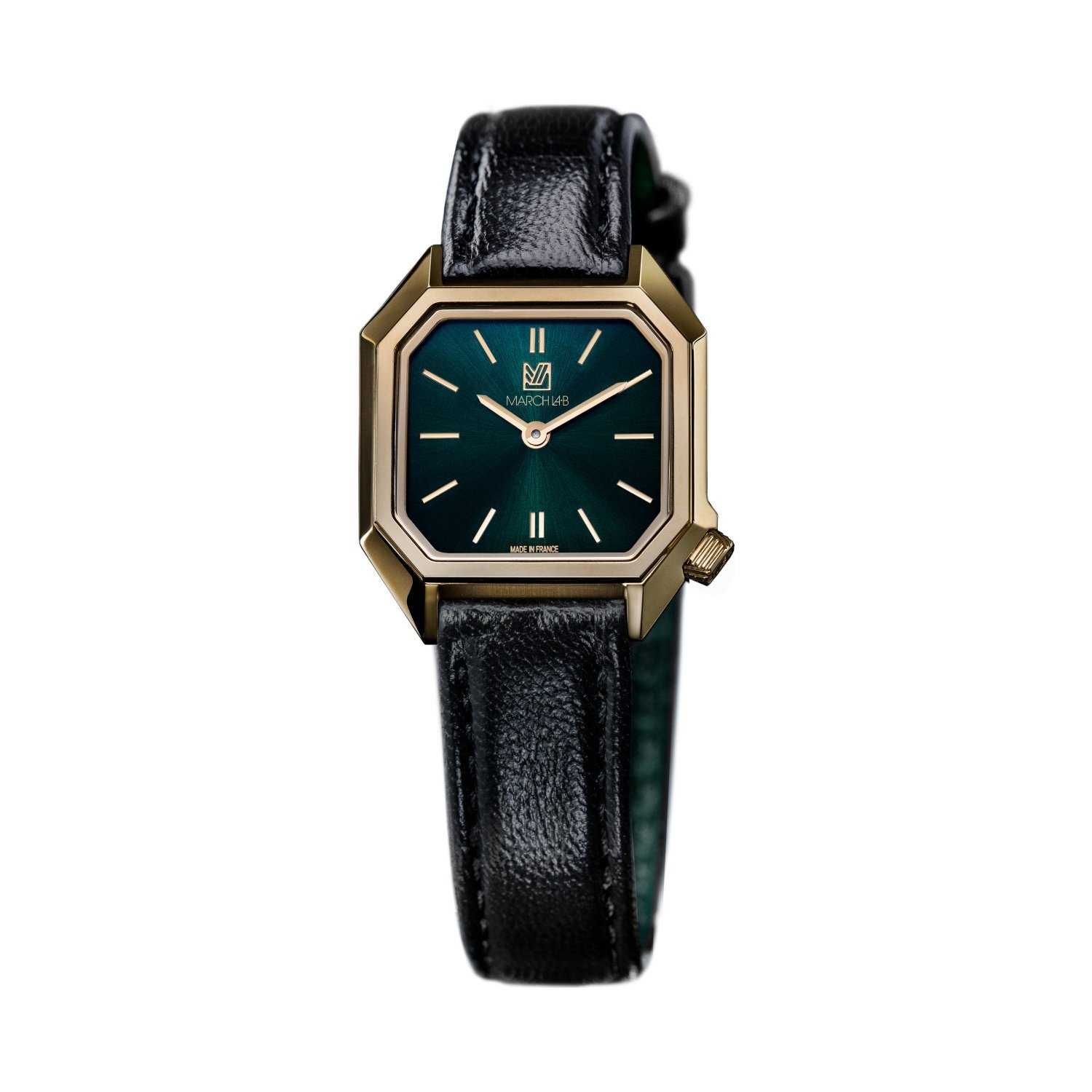 Montre March LA.B Lady Mansart Electric Emerald - Bracelet veau vert et noir vue 1
