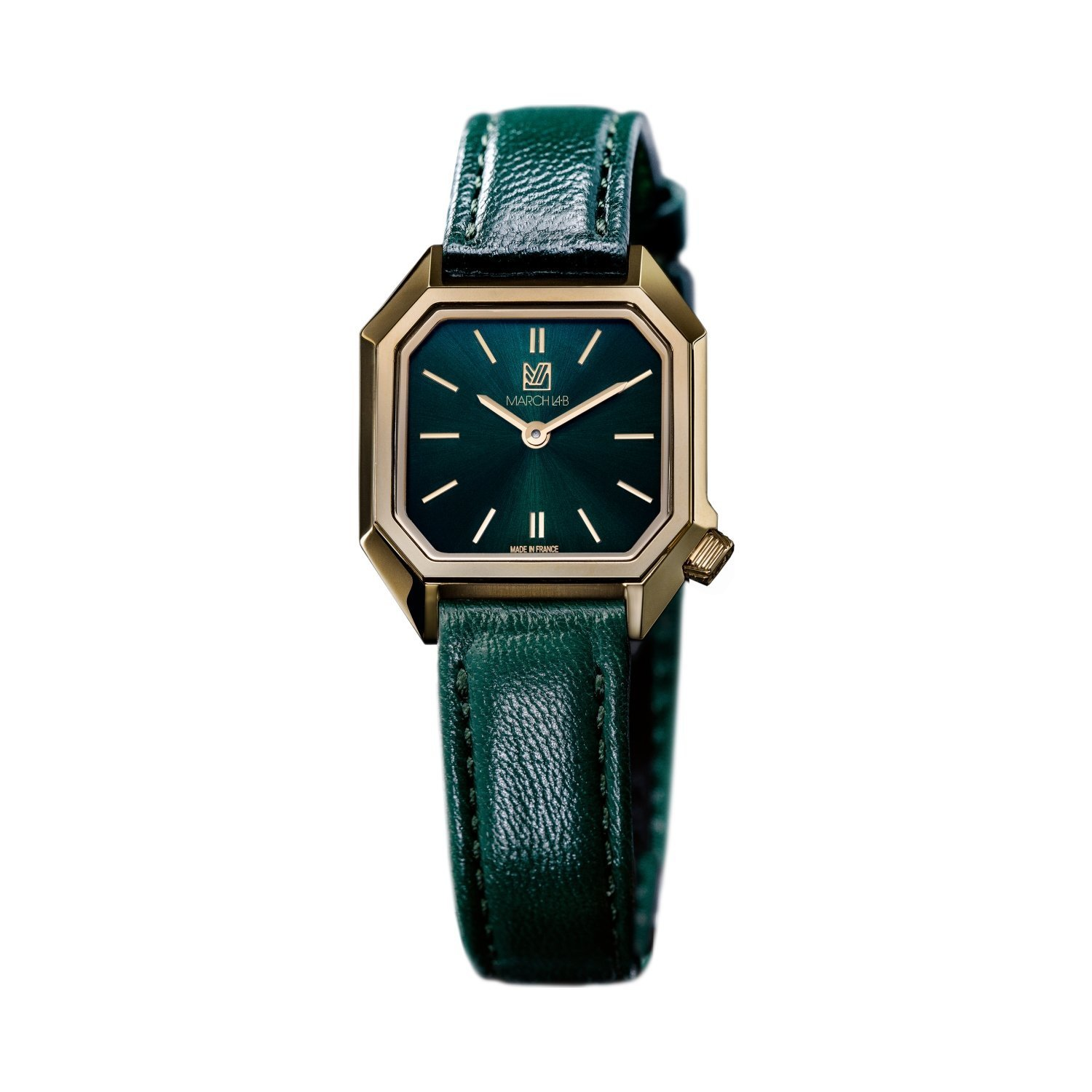 Montre March LA.B Lady Mansart Electric Emerald - Bracelet veau vert et noir vue 2