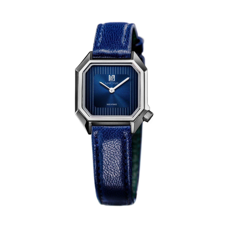 Montre March LA.B Lady Mansart Electric Ocean - Bracelet veau bleu et noir vue 1