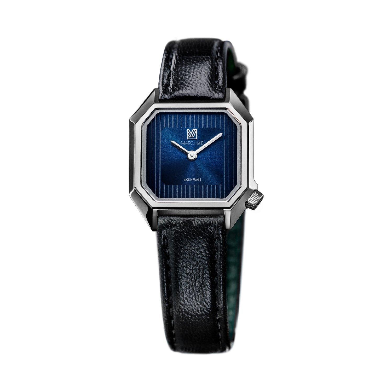 Montre March LA.B Lady Mansart Electric Ocean - Bracelet veau bleu et noir vue 2
