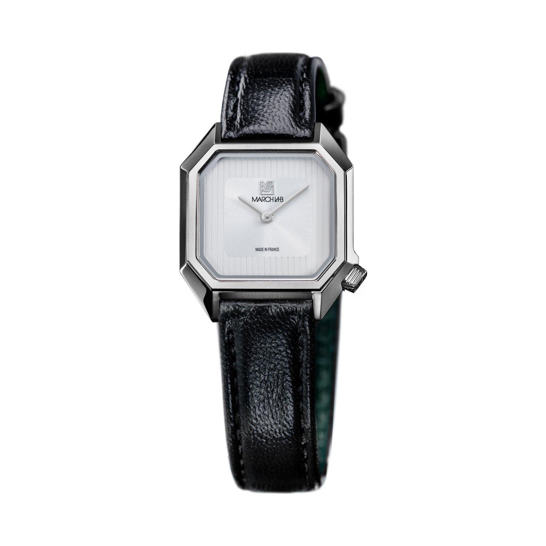 Montre March LA.B Lady Mansart Electric White - Bracelet veau marron et noir vue 2