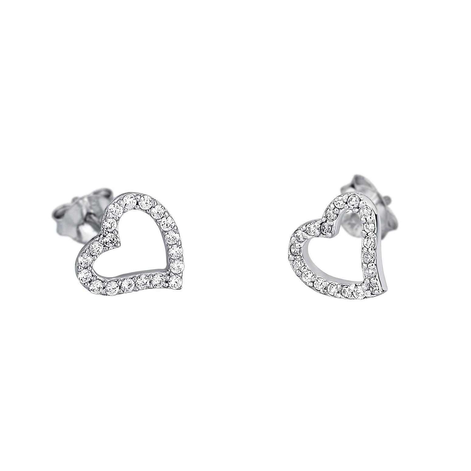 Boucles d'oreilles Lotus Silver Moments coeur en argent et oxydes de zirconium